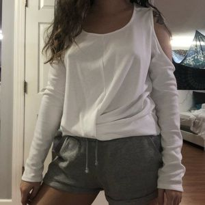 Tops - White open shoulder fitted shirt